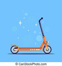 électrique, illustration, poussée, style, scooter, icône, plat