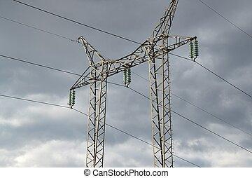 électrique, lignes, haute tension