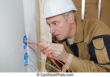 électrique, lignes, installation