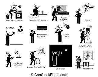 électrique, maison, pictogramme, icons., maison, problèmes, appareils, figure bâton