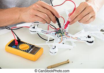 électrique, outillage, essai, multimètre, courant, bourdon, utilisation, homme