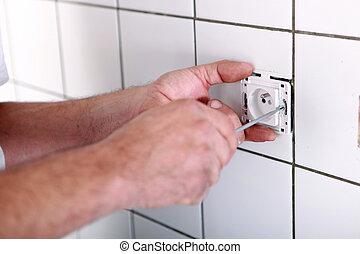 électrique, salle bains, électricien, essayage, sortie