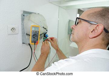 électrique, tension, multimètre, douille, mesure