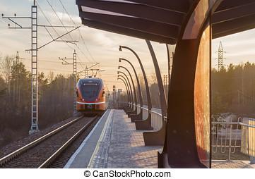 Électrique,  train, départ,  station, petit, chemin fer