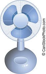 électrique, vecteur, ventilateur, fond, table, blanc