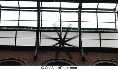 électrique, ventilateur plafond, salle, marché