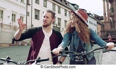électrique, voyageurs, touriste, scooters, town., jeune...