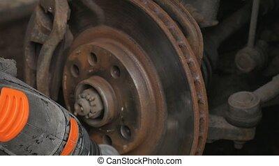 électrique, wheel., remplacer, nettoie, calibre, frein, foret, mâle, rouille, avant