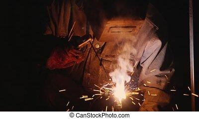 électrique, work., étincelles, beaucoup, dur, labour., ...