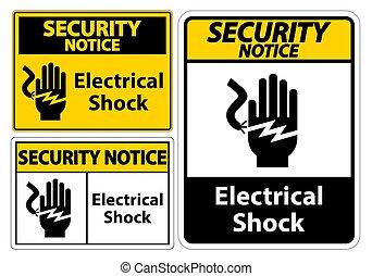 électrocution, choc, eps.10, symbole, électrique, isoler,...