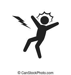 électrocution, choc, homme