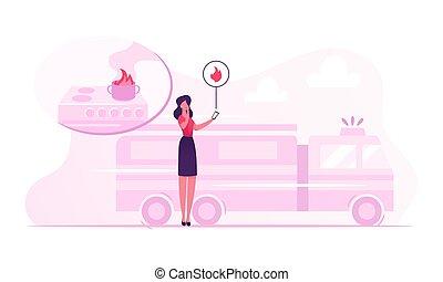 électronique, appeler, illustration, smartphone, notification, contrôle, absence, sur, femme, système, vecteur, appareil, intelligent, accident, happen, obtenir, brûler, plat, urgence, dessin animé, propriétaire, service, maison