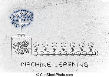 électronique, cerveau, sur, a, ligne production, de, idées, machine, apprentissage