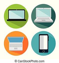 électronique, ensemble, appareils, icônes