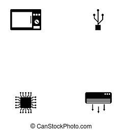 électronique, ensemble, icône