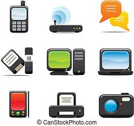 électronique, ensemble, icône ordinateur, une