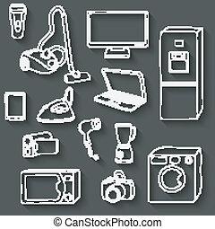 électronique, ensemble, icônes