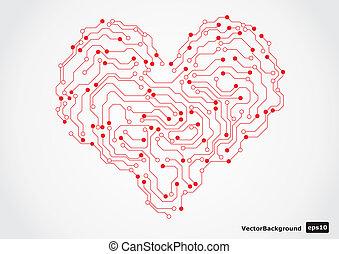 électronique, forme, circut, planche, coeur