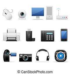 électronique, ordinateurs, icônes