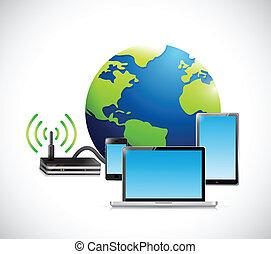 électronique, router., connexion, illustration