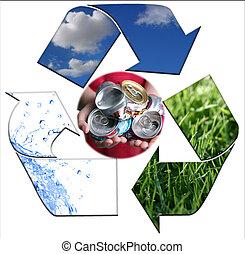 élelmezés, a, környezet, kitakarít, noha, újrafelhasználás, alumínium