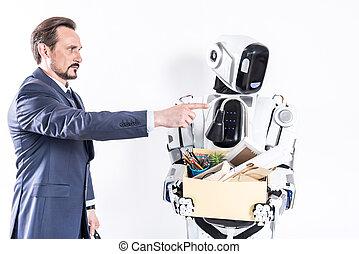 élelmezés, cyborg, magabiztos, állás, kartondoboz, javalló,...