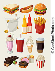élelmiszer, állhatatos, gyorsan, színes, karikatúra