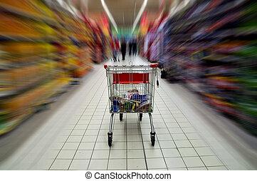 élelmiszer áruház, kordé