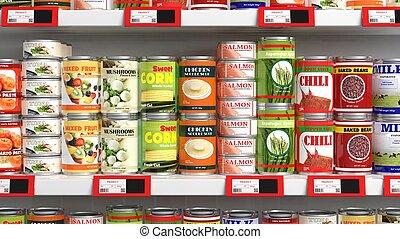 élelmiszer, élelmiszer áruház, különféle, konzerv, lezár...