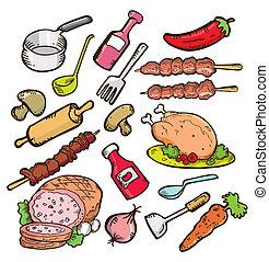 élelmiszer, és, cookware