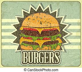élelmiszer, étrend, fedő, retro, gyorsan