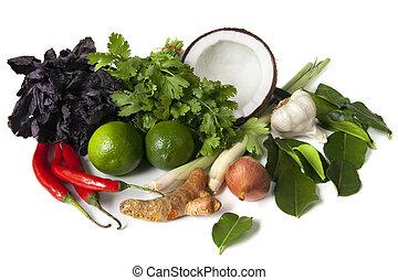 élelmiszer, alkatrészek, thai ember