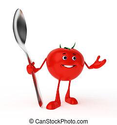 élelmiszer, betű, -, paradicsom