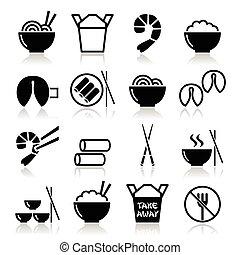 élelmiszer, el, fog, kínai, ikonok
