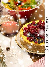 élelmiszer, feláll, más, becsuk, torta, asztal, karácsony