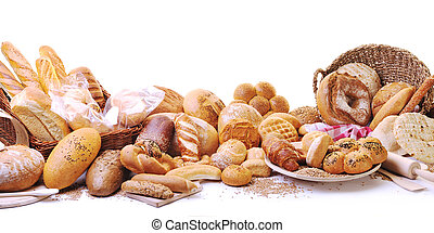 élelmiszer, friss, csoport, bread