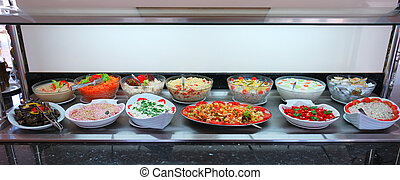élelmiszer, friss növényi, saláták, bár