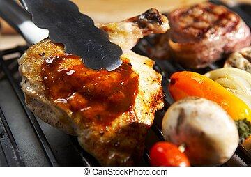 élelmiszer, grill, -, kerti-parti