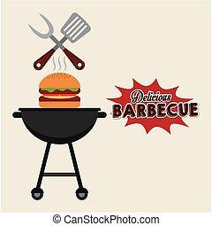 élelmiszer, grillsütő