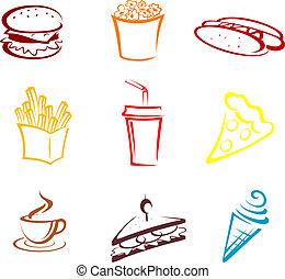 élelmiszer, gyorsan, falatozás
