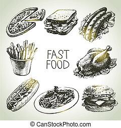 élelmiszer, gyorsan, set., ábra, kéz, húzott