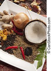 élelmiszer, indiai, alkatrészek