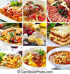 élelmiszer, kollázs, olasz