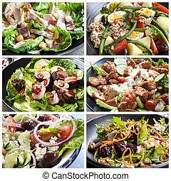 élelmiszer, kollázs, saláták