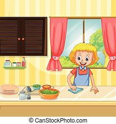 élelmiszer, konyha, takarítás, előkészítő, anya