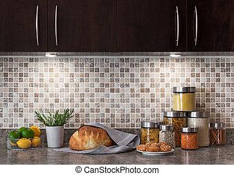 élelmiszer, konyha, világítás, kényelmes, alkatrészek