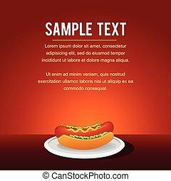 élelmiszer, kutya, gyorsan, csípős, vektor, háttér, template.