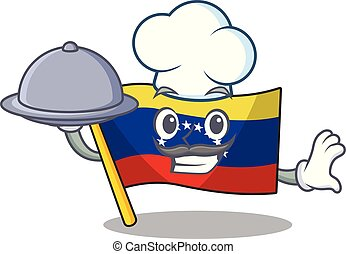 élelmiszer, lobogó, elszigetelt, séf, venezuela, karikatúra