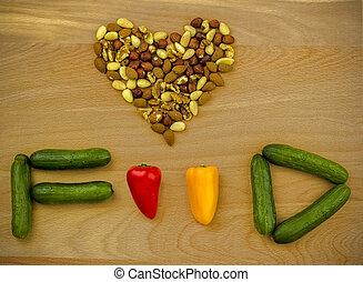 élelmiszer, love., diók, és, növényi