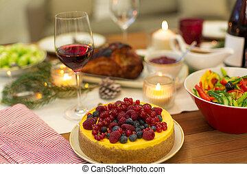 élelmiszer, más, asztal, torta, otthon, karácsony